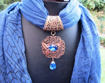 SCARF PENDANT SAPPHIRE  Butterfly Scarf Bail
