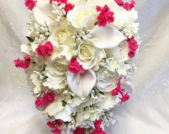Pink & White Cascade Bridal Bouquet ~  Gorgeous Quality Real Touch Roses Calla Lilies Silk Wedding Flowers