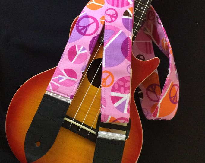 Ukulele strap, mandolin strap or child guitar strap // groovy 60s-inspired hippie peace signs -- shades of pink, orange, lilac and white