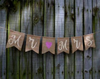 Burlap  Banner MR & MRS  Burlap Banner  wedding Bunting  Decor  Photo Prop Burlap Garland Rustic  Custom Banner