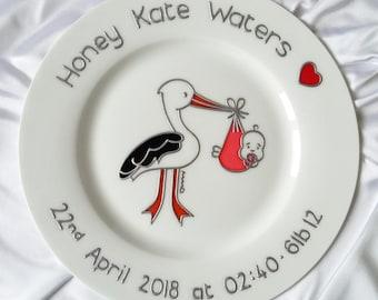 Stork New Baby Delivery - Jaribu Baby Gift - Stork Date of Birth Keepsake - Stork with Baby - Stork Date of Birth - Stork New Baby Plate