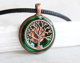 Unique mens necklace etsy forest green tree of life necklace tree necklace mens necklace celtic jewelry aloadofball Gallery