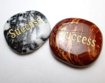 Success Worry Stone Palm Pocket Thumb Healing Metaphysical Meditation Crystal Natural Rock Balance Wisdom Word
