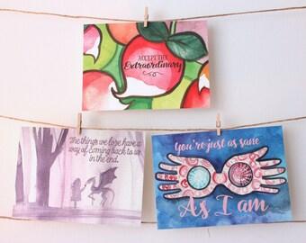 "Set of 3 Luna inspired 5""x7"" Postcard Prints"