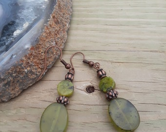 natural stone, green with brass beads