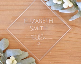 Acrylic place cards, geometrical place cards, wedding table decor, place card names