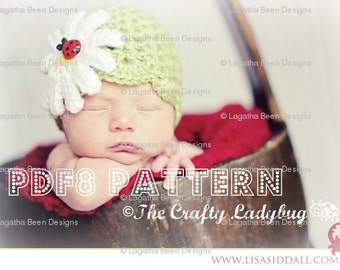Daisy shell beanie hat - 8 sizes included - newborn to adult - PDF8 instant download