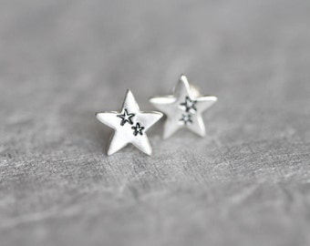Tiny Star Studs, Tiny Silver Star Earrings, Small Star Stud Earrings, Sterling Silver Posts