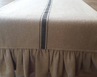 Grain Sack with Black Stripe Table Runner - Weddings, Receptions, Parties, Dining Table, Buffet