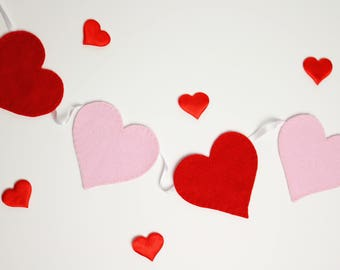Love heart bunting, Heart garland, Valentines garland, Heart banner, Valentines bunting, Valentines decor, Wedding garland, Heart decor
