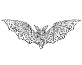 Bat Zentangle digital colouring sheet