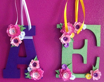 Paper Flower Wall Decoration, Wall Decoration, Chip Board Letters, Letter Decoration, Made To Order