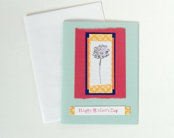 Mother's Day Card with Blue Hydrangea Flower on Layers of Colorful and Printed Paper