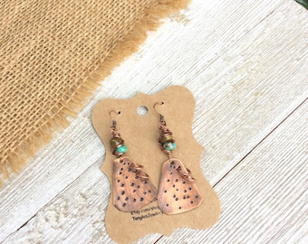 Tribal Copper Earrings, Patina Earrings