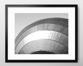 Minimal Black and White Photography, architectural modern art print 'Curve', industrial urban photo, minimalist print, contemporary wall art