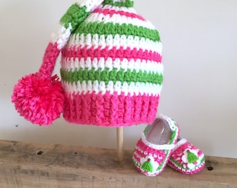 Santa's Lil Helper Hat + Bootie Set