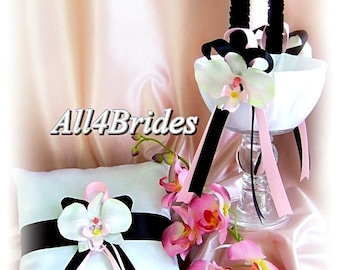 Black and pink wedding flower girl basket and ring bearer pillow, ring cushion and basket set