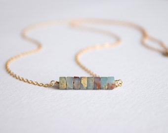Aqua terra Jasper bar necklace, minimalist necklace, blue gemstone jewelry, gift for her