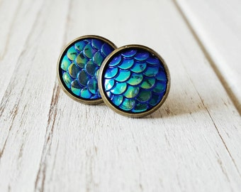Mermaid Stud Earrings, Blue, Mermaid, Mermaid Scales, Mermaid Earrings, Mermaid Studs, Stud Earrings, Gift for her, Bridesmaid gift