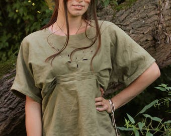 Olive upcycling blouse like linen with embroidery and wrinkles
