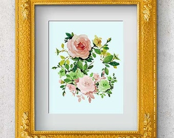 Pink roses print, roses poster, watercolor blush roses, roses wall art, pastel roses, roses bedroom art, roses room decor, living room art