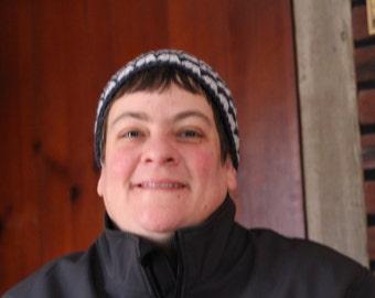 Ziggy Zag Adult Beanie, Ziggy Zag Denim Hat, Denim ZiggyZag Beanie, Adult Hat, Winter Hat, Cute Hat, Ziggy Zag Hat, Denim and Grey Hat, Hat