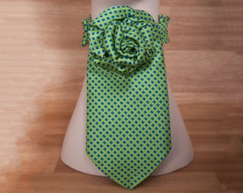 Green Flower Tie Necklace, Upcycled Necktie, Choker, St Patrick's Day, Repurposed Ties, Ascot, Scarf Necklace
