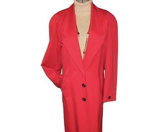 Long Red Trench Coat Pendleton 100% Virgin Wool Fully Lined Rain Size 8