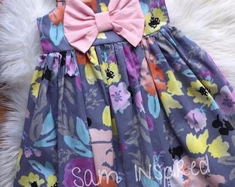 Big bow dress ,Floral dress,floral  big bow dress/ baby girl dress