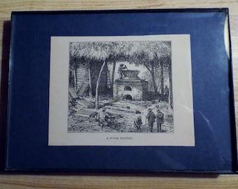 1800's Original Engraving - Sugar Factory
