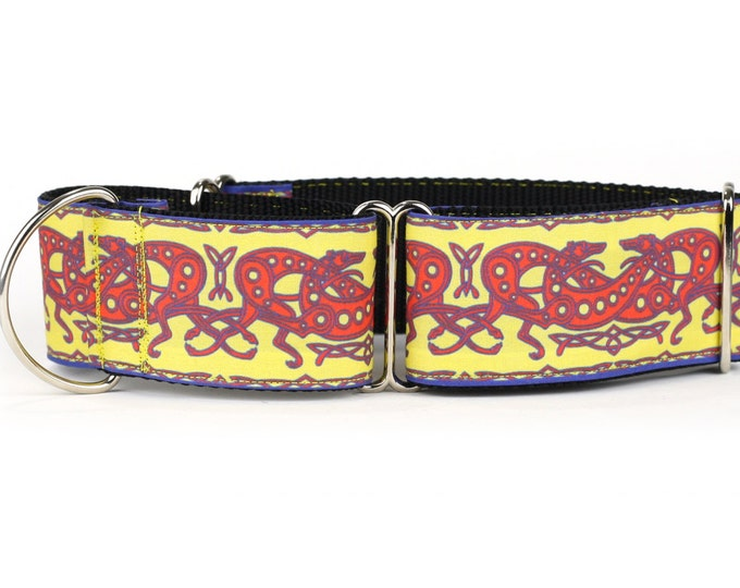 """Greyhound Dog Collar - Celtic Knot in Yellow and Red- 2"""" Martingale Dog Collar (C-Yellow/Red)"""