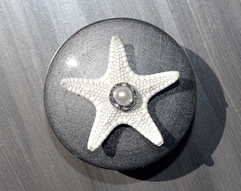 Silver Seashell Cabinet knobs or Drawer Pulls with pearl and crystal embellishment