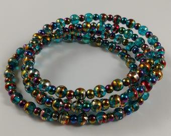 Gold/Blue Bead • Purple/Blue Bead • Memory Wire Bracelet • Soul Forge Designs