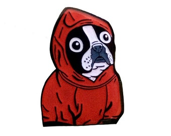 Boston Terrier Red Hoodie Enamel Pin
