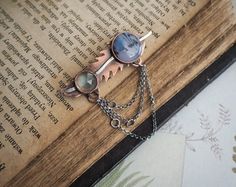 rustic style copper & silver leaf, nature inspired elegant brooch, gemstone jewelry, gift for her, nature lover, luxurious artisan jewelry