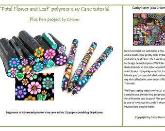 Petal Flower and Leaf plus Pen project Polymer clay cane tutorial by CHarm