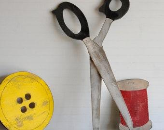 Big Wooden Scissors Sewing Room Display Prop Vintage Trade Sign