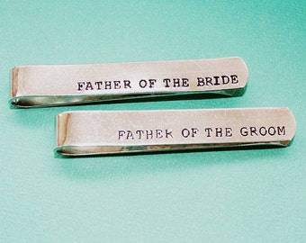 Personalized Tie Clip - Father of the Bride and Groom - Hand Stamped Tie Bar - Custom Groomsmen Gift - Dad or Grandpa - Wedding Gift
