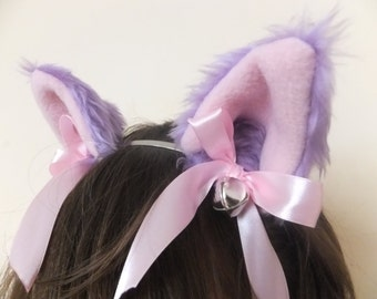 Lilac Light Purple Furry Cosplay Cat Neko Ears Ribbons Bells Headband Hairband Alice band Kawaii Halloween Costume Festival Fursuit Cute