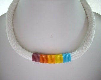 10mm White Woven Cord Necklace with Brown Dark Orange Light Orange Yellow and Turquoise Rubber Bands