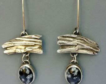 Snowflake Obsidian Silver Earrings
