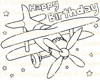 Plane Birthday Coloring Page Printable Airplane Party Supplies Colouring Sheet Idea Theme Fun Printables PDF