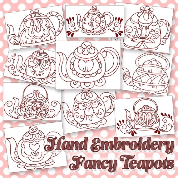 Sale hand embroidery patterns fancy teapots in 4 sizes pdf instant sale hand embroidery patterns fancy teapots in 4 sizes pdf instant download 10 designs kitchen tea time teapot from handembroiderydesign on etsy studio dt1010fo