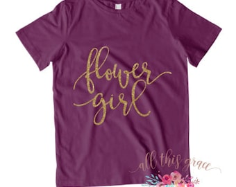 Flower Girl Shirt - Flower Girl T Shirt - Gift Flower Girl - Gold Glitter Shirts - Pink Glitter Shirt - Glitter T Shirt - Flower Girl Gift