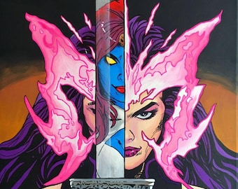 Pyslocke and Mystique Canvas Painting