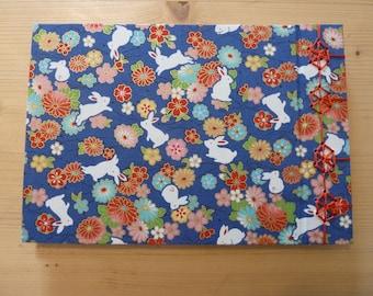 Blue rabbit- Handmade notebook/sketchbook/journal