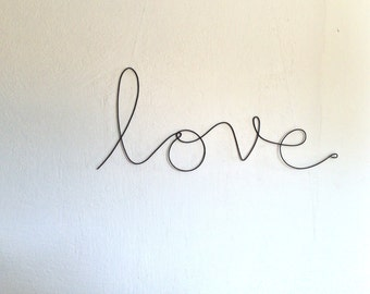 "Soft cursive ""love"" wall phrase colourful aluminium wire"
