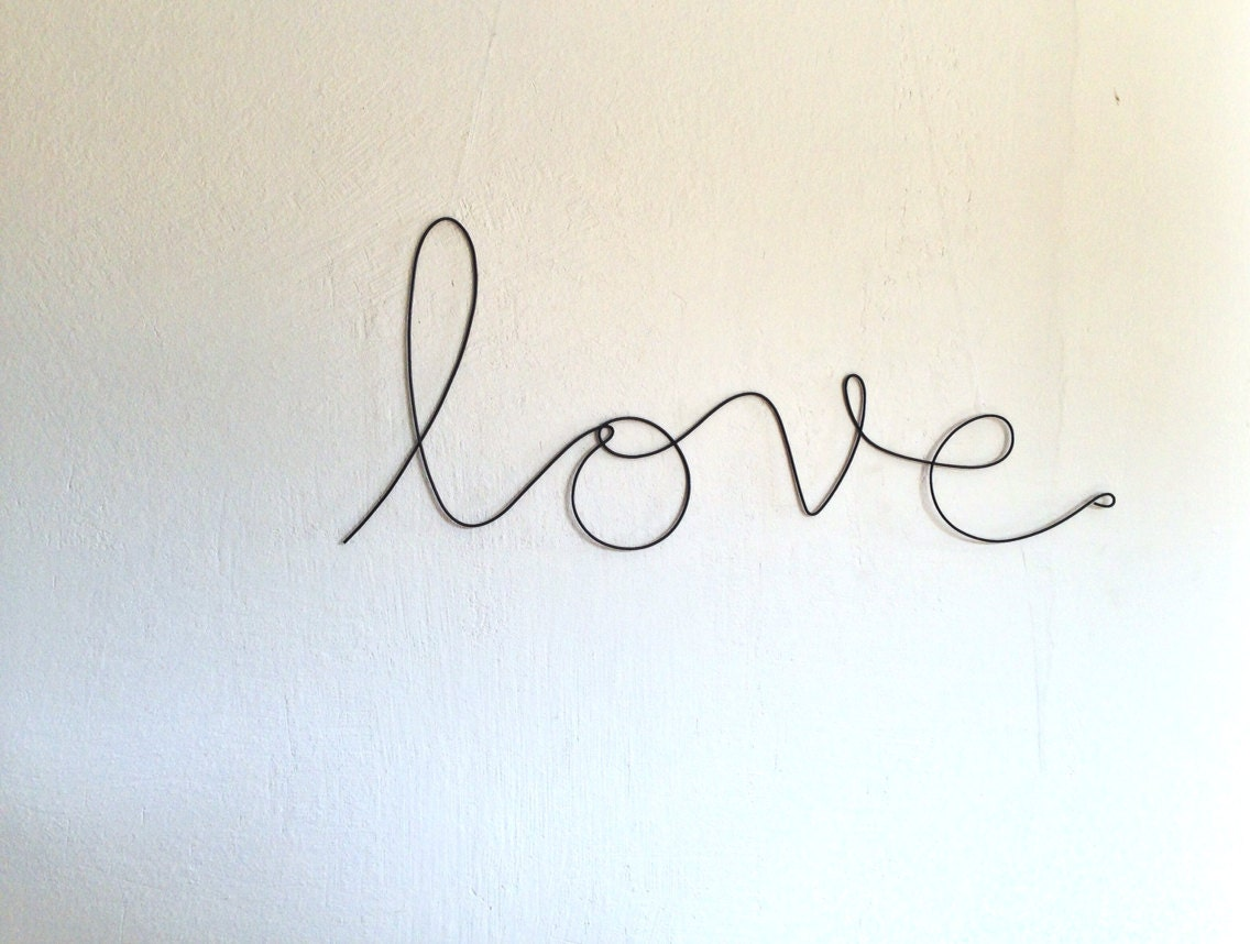 Soft Cursive Love Wall Phrase Colourful Aluminium
