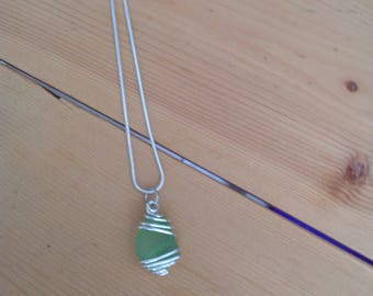 Lime green wire wrapped Seaglass necklace