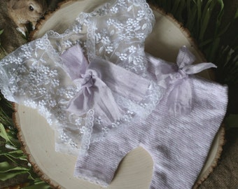 Newborn Photography Prop - Ella Set - Shortie set with open back top